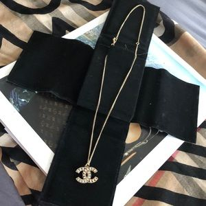 Gold CC Crystal Stone Necklace